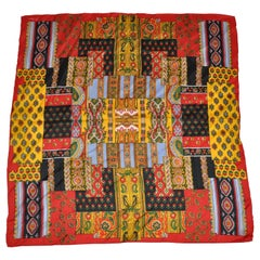 """Echo's """"Patchwork"""" With Red Borders Silk Scarf"""