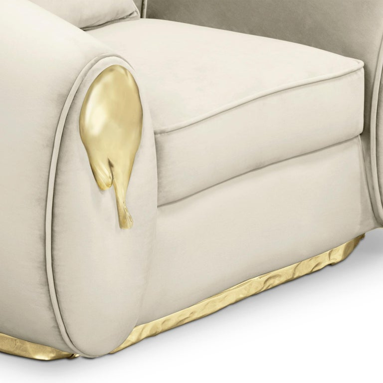 Portuguese Eclat Armchair with Genuine Leather and Polished Brass For Sale