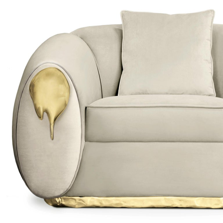 Hand-Crafted Eclat Armchair with Genuine Leather and Polished Brass For Sale