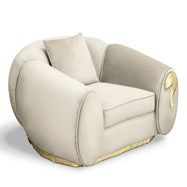 Contemporary Eclat Armchair with Genuine Leather and Polished Brass For Sale