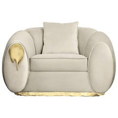 Eclat Armchair with Genuine Leather and Polished Brass