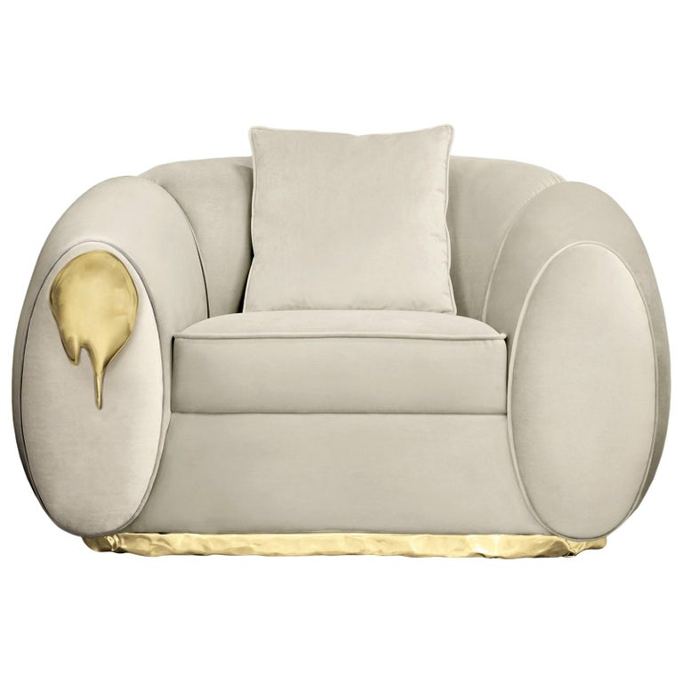 Eclat Armchair with Genuine Leather and Polished Brass For Sale