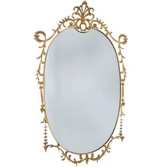 Eclectic and Large Baroque Style Brass 1960s Wall Mirror