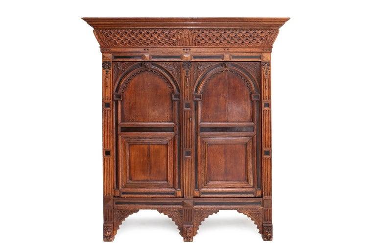Extraordinary Dutch Renaissance cupboard.  Port cabinet made in Utrecht, Holland.   Beautifully cut oakwood detailing.   True master woodwork.
