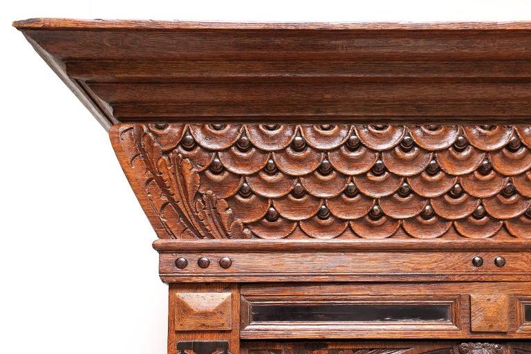 Wood Eclectic Antique Dutch Renaissance Cabinet For Sale