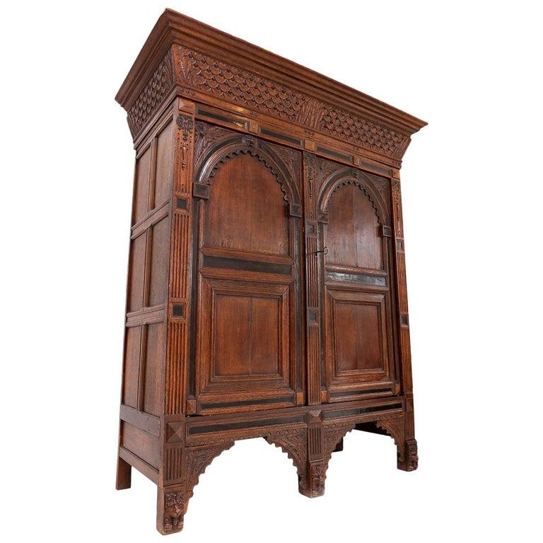 Eclectic Antique Dutch Renaissance Cabinet For Sale