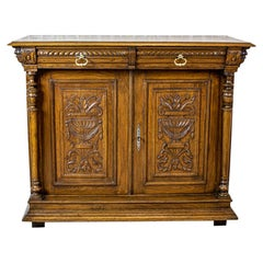 Eclectic Oak Cabinet from the Late 19th Century in Light Brown