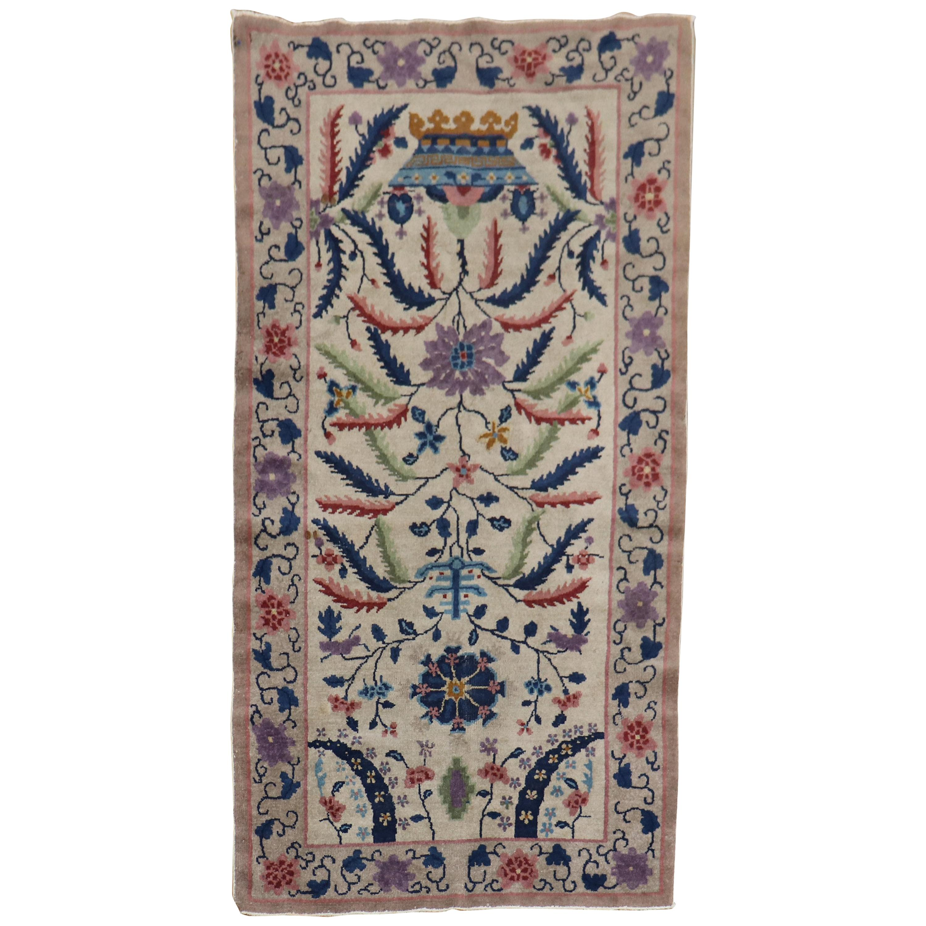 Eclectic Chinese Art Deco Scatter Rug
