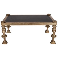 Eclectic Coffee Table with Inset Slate Top, White Gold Frame