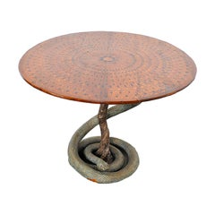 Eclectic Game Table with Python Sculpture from the Fifties
