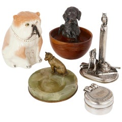 Eclectic Group of Five Antique Dog-Form Objects