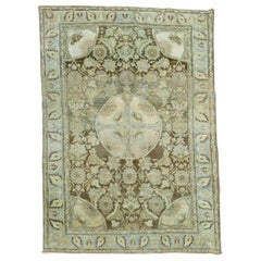 Eclectic Persian Blue Green Brown Tabriz Oriental Hand Knotted Rug