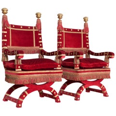 Eclectic Red Velvet Italian Throne Chairs