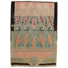 Eclectic Turkish Throw Size Rug, Mid-20th Century