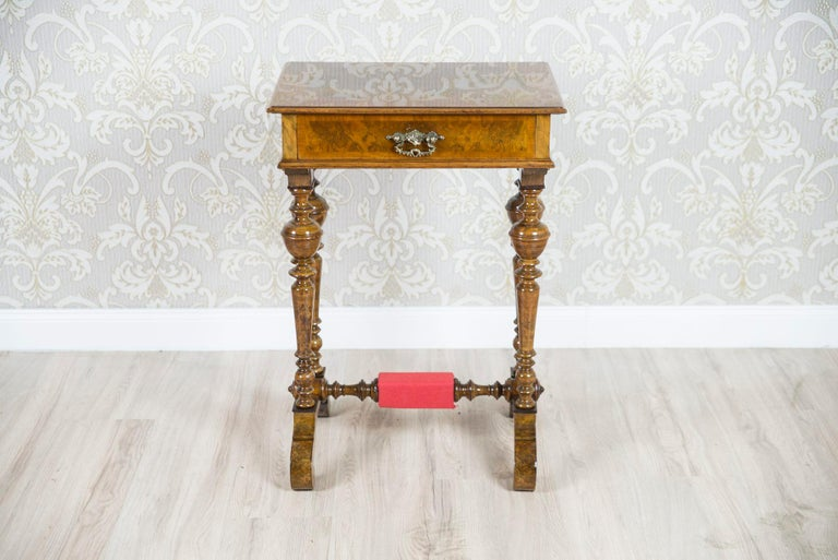 European Eclectic Walnut Sewing Table, circa 1900 For Sale