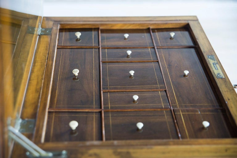 Eclectic Walnut Sewing Table, circa 1900 In Good Condition For Sale In Opole, PL