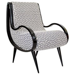 Eclipse Armchair in Black and White Fabric