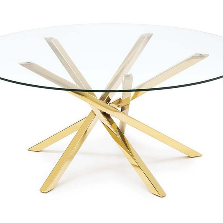 Italian Eclipse Coffee Table in Gold Finish For Sale