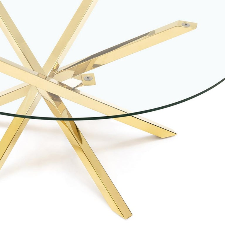 Eclipse Coffee Table in Gold Finish In New Condition For Sale In Paris, FR