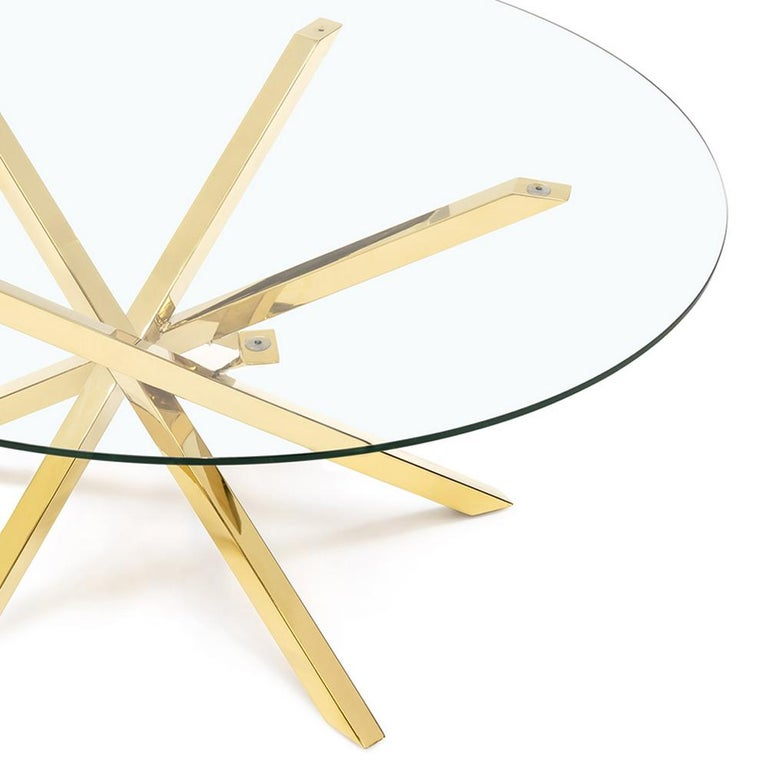Contemporary Eclipse Coffee Table in Gold Finish For Sale