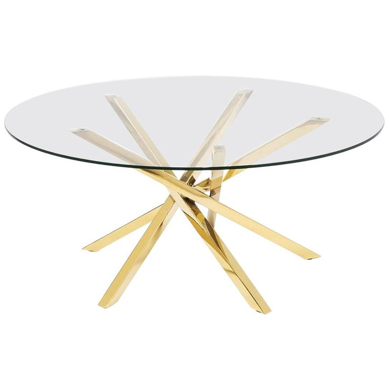 Eclipse Coffee Table in Gold Finish For Sale