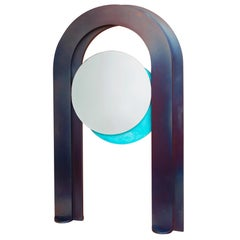 Eclipse Contemporary Heat-Treated and Patinated Steel Mirror by Kin & Company