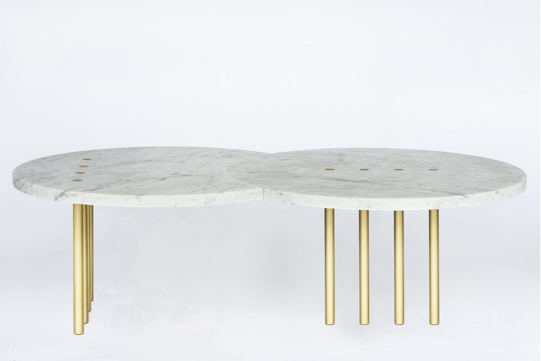 Italian Eclipse Dots Coffee Table in Brass and Carrara Marble by Hagit Pincovici For Sale