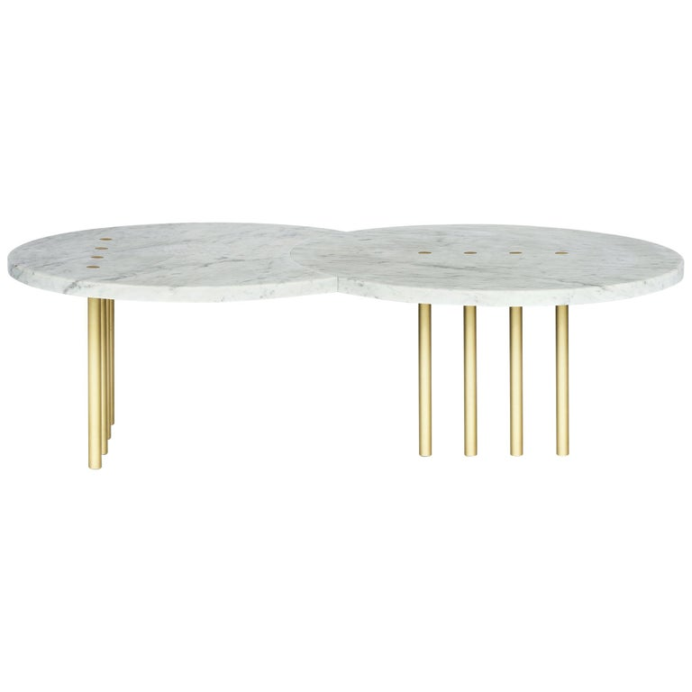 Eclipse Dots Coffee Table in Brass and Carrara Marble by Hagit Pincovici For Sale