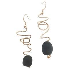 Eclipse Earrings featuring matte black seas glass by Sidney Cherie Studio.