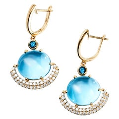 Eclipse Earrings in 14 Karat with Swiss and London Blue Topaz with Diamonds