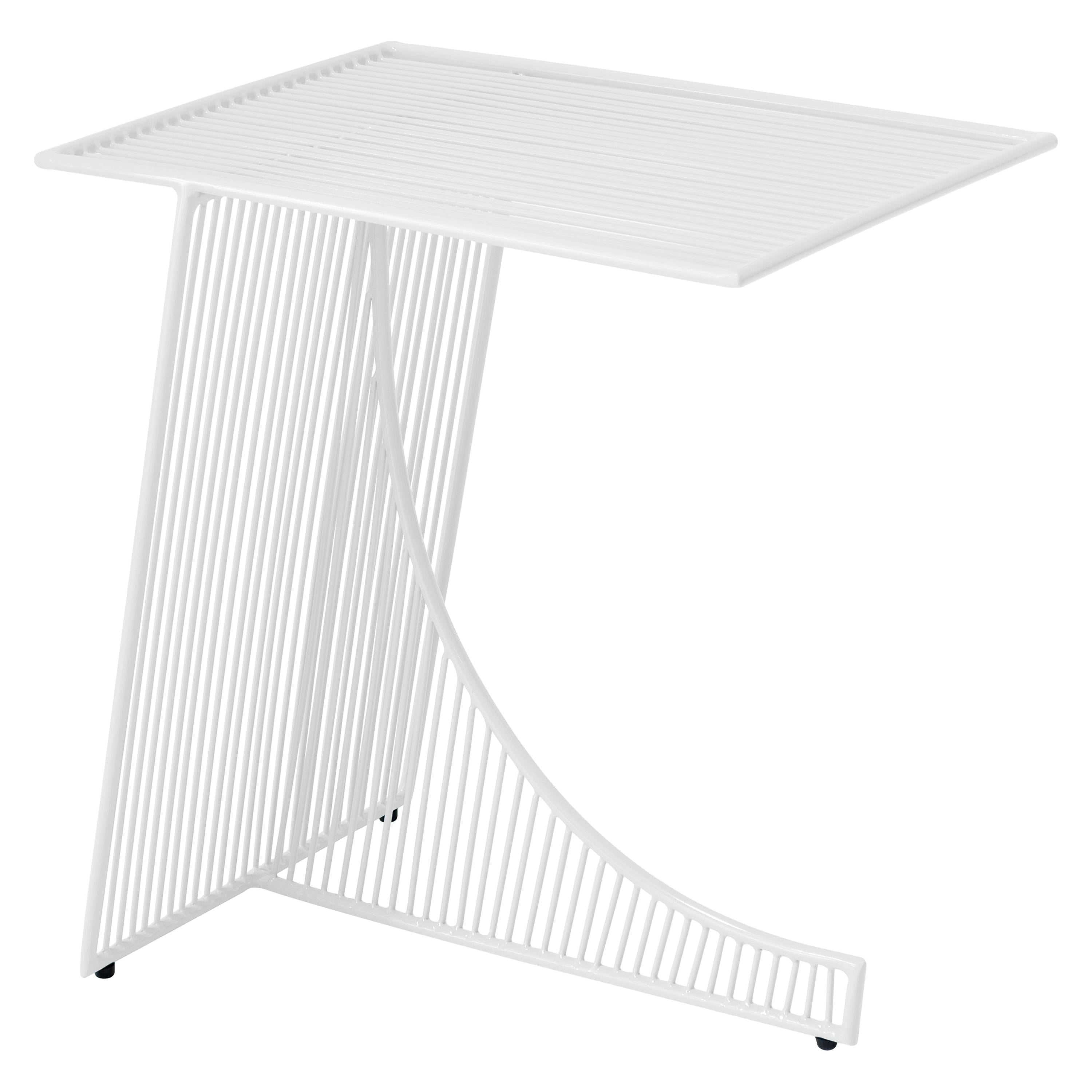 Eclipse Metal Contemporary Side Table in White by Bend Goods
