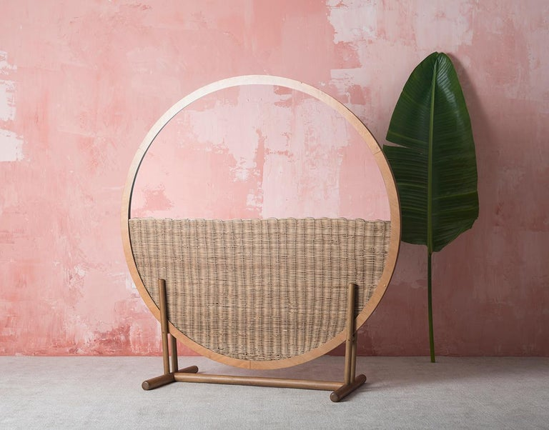 Guatemalan Handwoven Wicker and Wood Room Divider and Mirror —