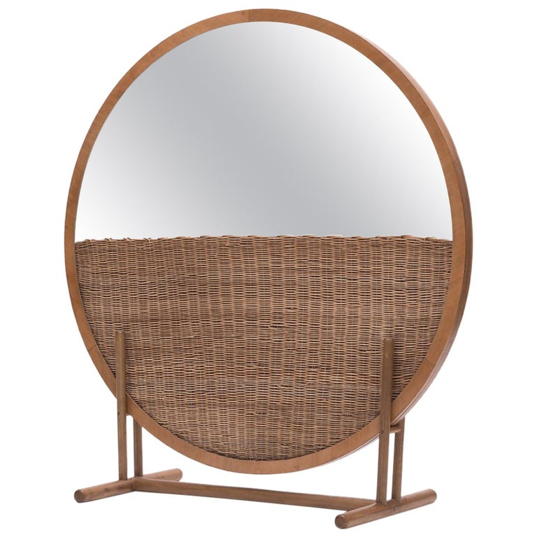 """Handwoven Wicker and Wood Room Divider and Mirror — """"Moon"""" by Agnes Studio For Sale"""