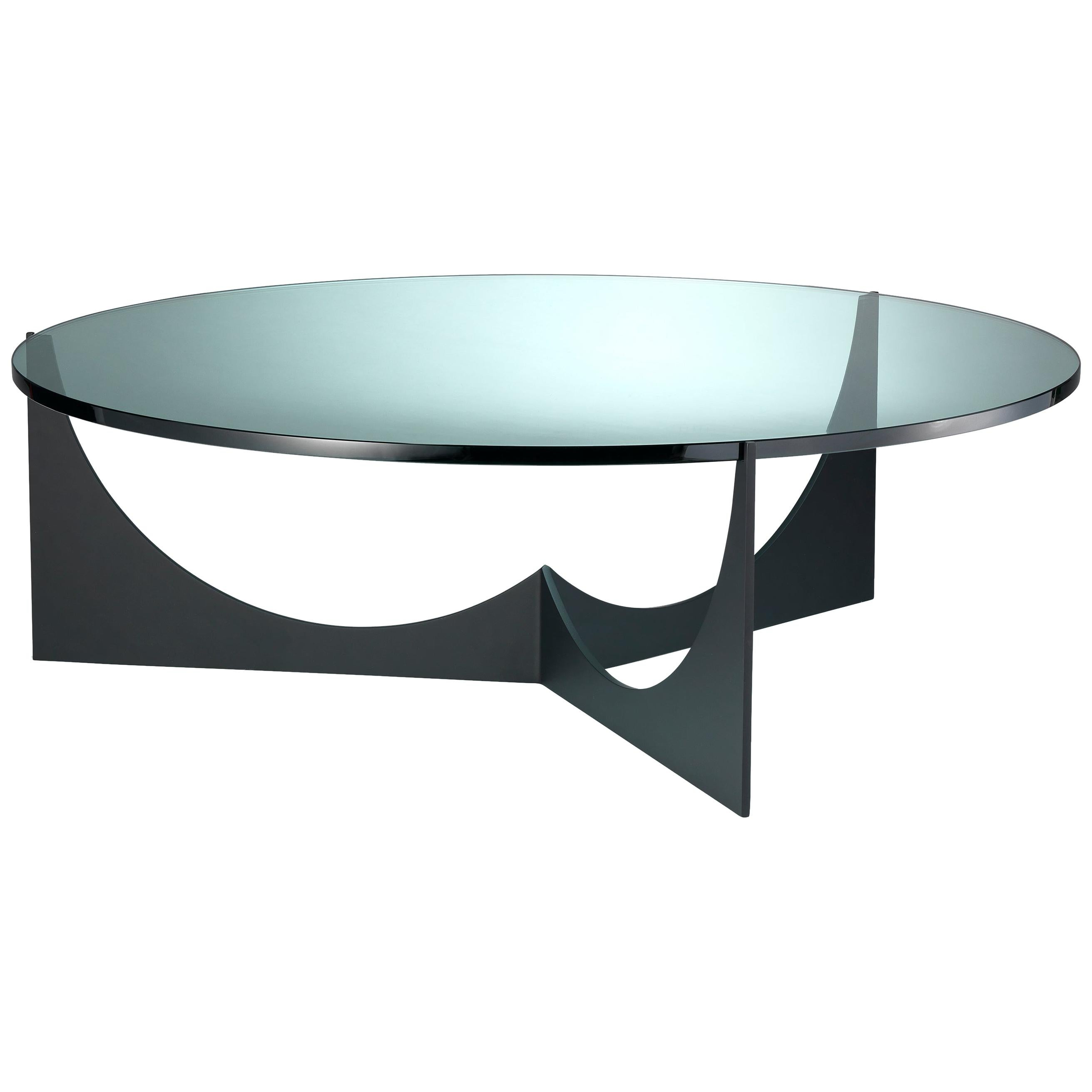 Eclipse Round Coffee Table Black Powder Coated Stainless and Glass Top