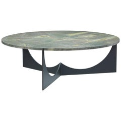 Eclipse Round Coffee Table Black Stainless Steel Base and Honed Granite Top