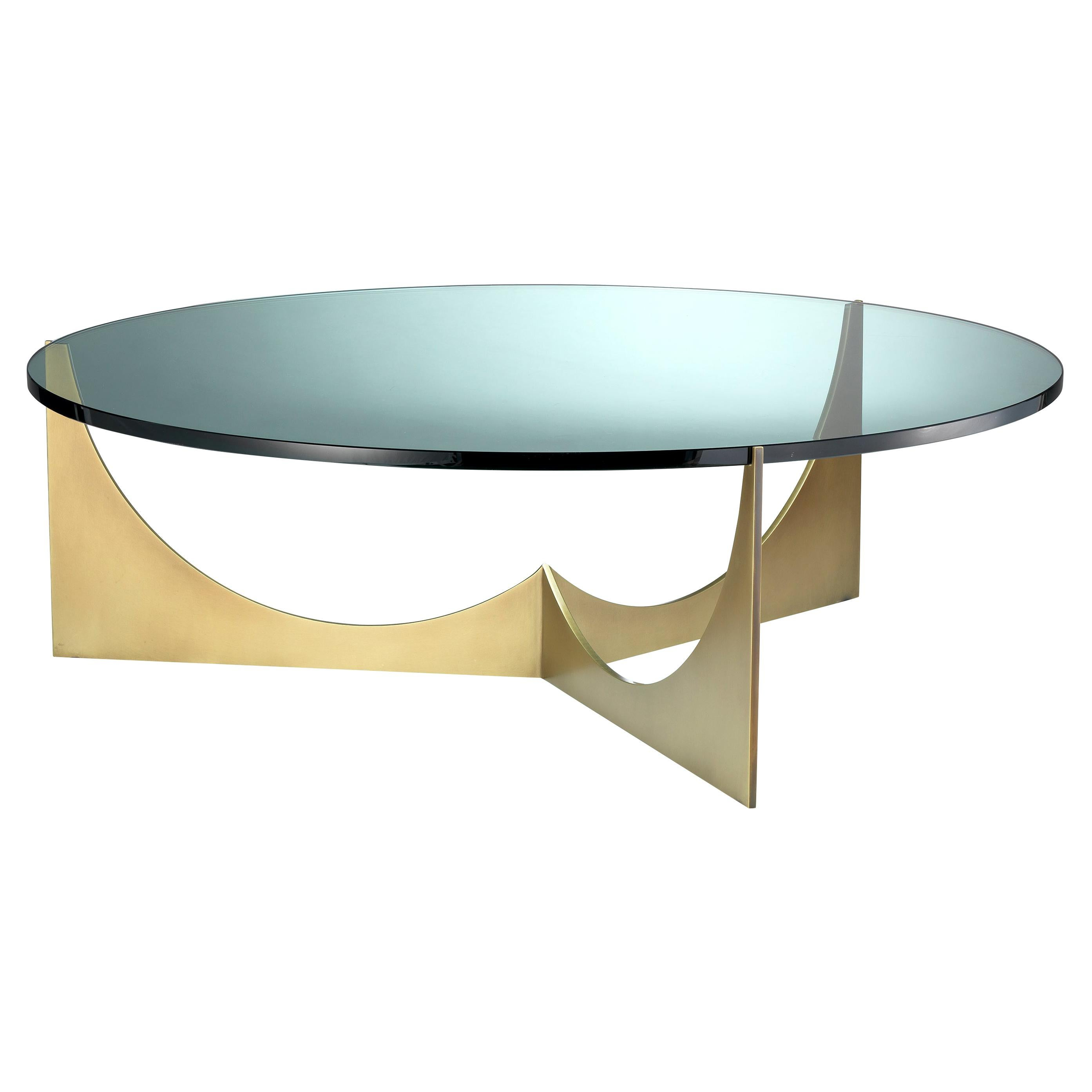 Eclipse Round Coffee Table Solid Brass Base and Glass Top