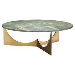 Eclipse Round Coffee Table Solid Brass Base and Granite Top