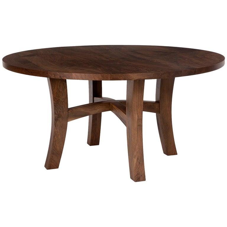 """Eclipse"" Round Dining Table in Walnut For Sale"