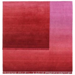 Eclipse Sedna, Rug and Wall Tapestry Nepal Highland Wool and Cotton Berry Red