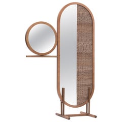 "Handwoven Wicker and Wood Room Divider and Mirror — ""Sun"" by Agnes Studio"