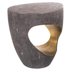 Eclipse Stool in Black Shagreen and Bronze-Patina Brass by R&Y Augousti