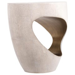 Eclipse Stool in Cream Shagreen and Bronze-Patina Brass by R&Y Augousti
