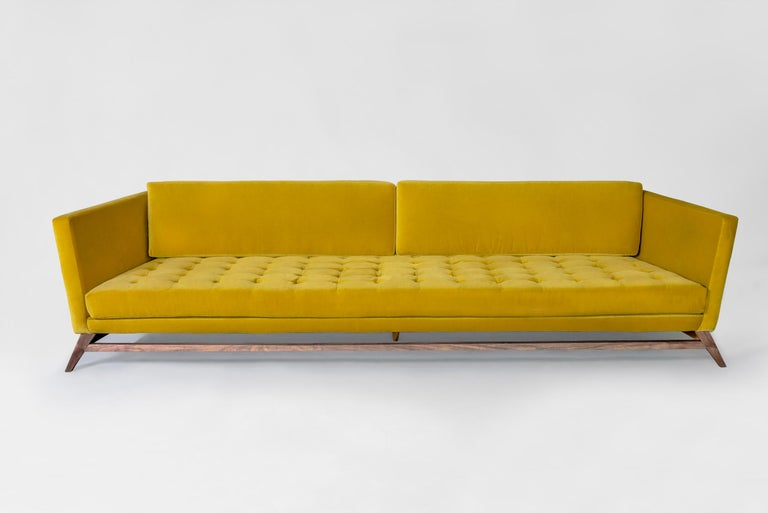 Modern Eclipse Tufted Velvet Sofa with Walnut Legs by ATRA For Sale