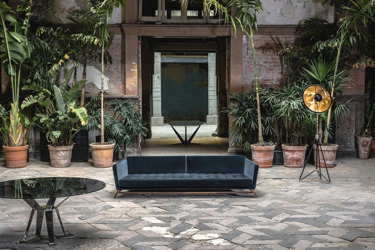 Mexican Eclipse Tufted Velvet Sofa with Walnut Legs by ATRA For Sale