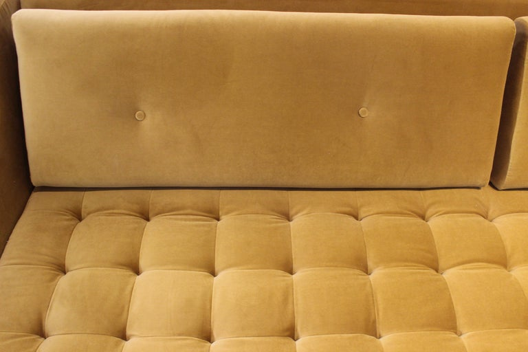 Hand-Carved Eclipse Tufted Velvet Sofa with Walnut Legs by ATRA For Sale