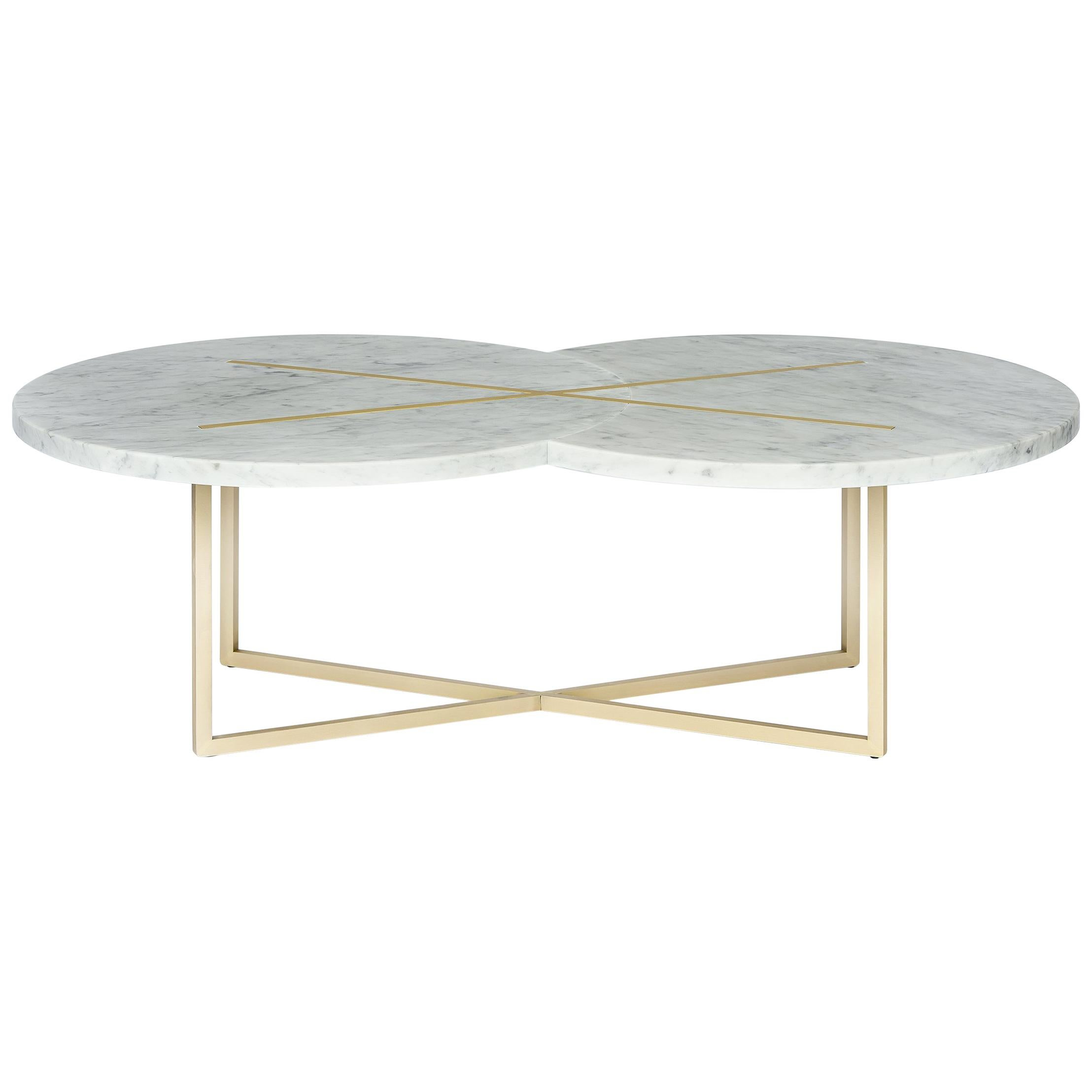 Eclipse X Table in Brass and Carrara Marble, Made in Italy