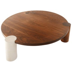 Large American Black Walnut Coffee Table with Ceramic and Solid Wood Legs