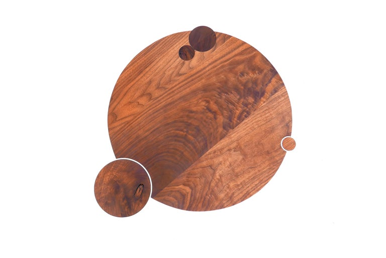 Canadian Large American Black Walnut Coffee Table with Copper and Solid Wood Legs For Sale