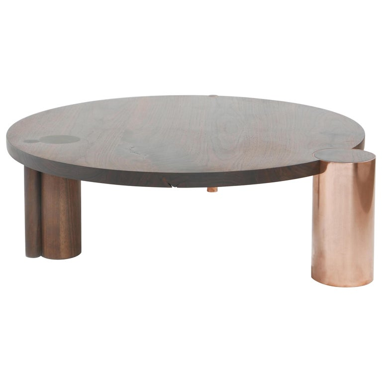 Large American Black Walnut Coffee Table with Copper and Solid Wood Legs For Sale