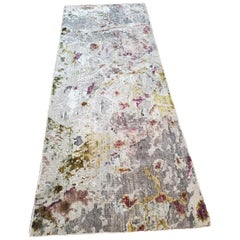 Eco-Friendly Distressed Wool and Silk Abstract Contemporary Runner Rug in Stock